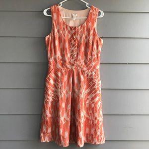 J Crew Coral/Cream Dress 4 Pockets
